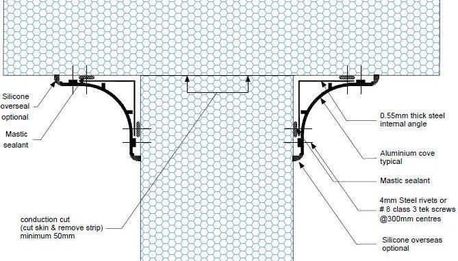 Dettaglio parete divisoria soffitto A PF02 - disegni tecnici -pannelli termici srl