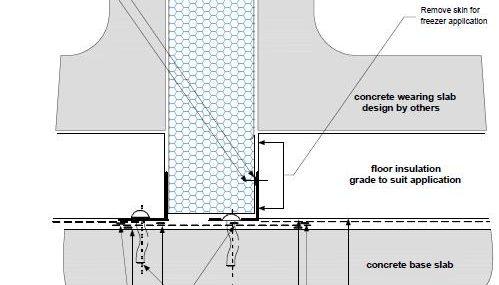 Dettaglio parete divisoria pavimento isolato B PF03 - disegni tecnici - pannelli termici srl